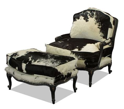 cowhide chair and ottoman old hickory tannery black and white cowhide bergere