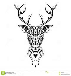 deer head ethnic pattern stock illustration image