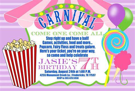 carnival birthday invitations birthday party invitations