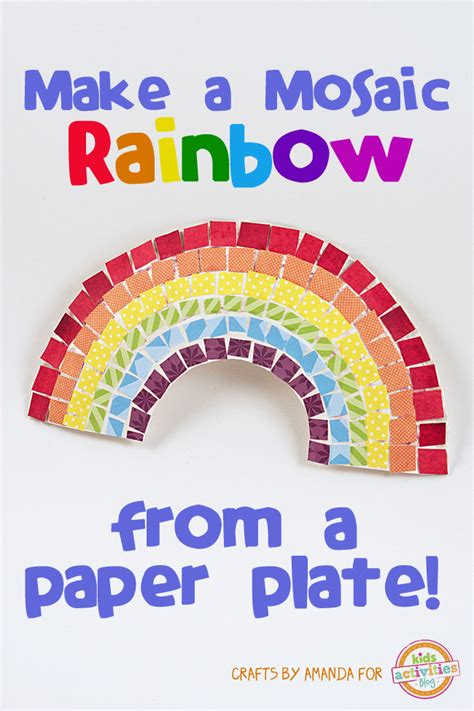 How To Make A Paper Mosaic - mosaic rainbow craft from a paper plate