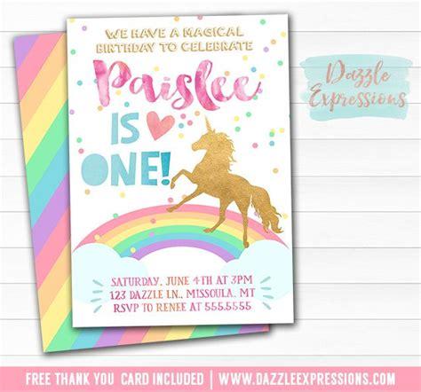 printable rainbow unicorn invitations printable watercolor and gold unicorn birthday invitation