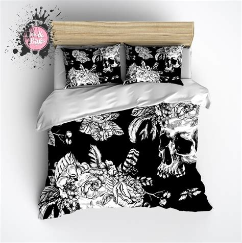 flower skull comforter black and white skull with flower and feather crown