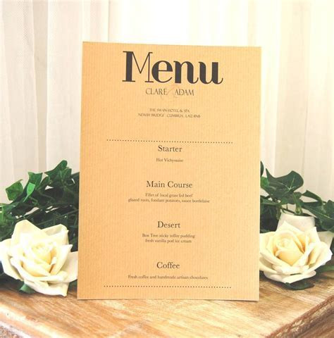 vintage print wedding breakfast menu by made with love