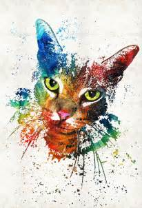 colorful cats m e o w abstract by