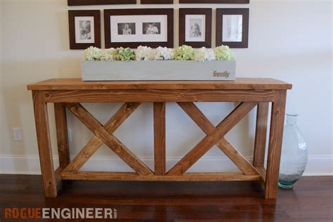 free sofa table plans diy x brace console table free plans rogue engineer