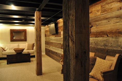 rustic basement ideas basement rustic with reclaimed gray