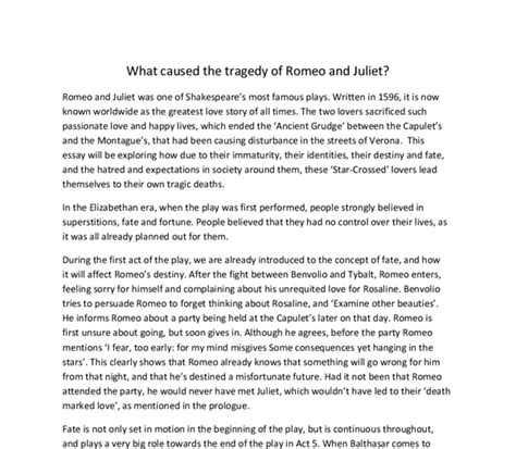 Romeo And Juliet Fate Essay by Romeo And Juliet Essay Fate Implicitthesis Web Fc2
