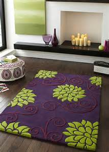 100 Wool Rug Purple Green Floral 100 Hand Tufted New Zealand Wool Silk