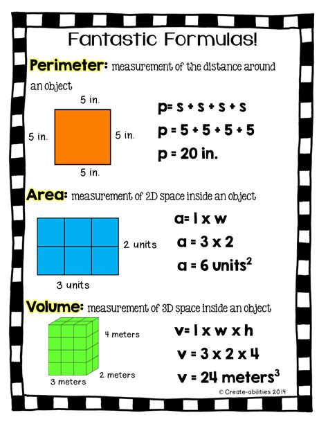 printable area free perimeter area and volume printable for math