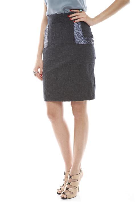 gwen beloti blue wool pencil skirt from flatbush by