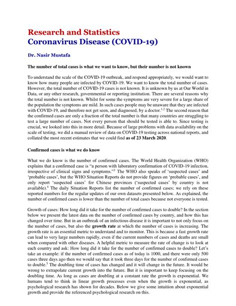 (PDF) Coronavirus Disease (COVID-19) – Research and Statistics