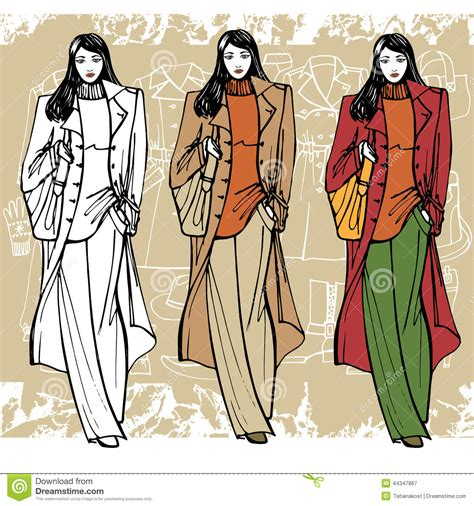 fashion illustration with background fashion in coat sketch style grunge stock vector image 44347867