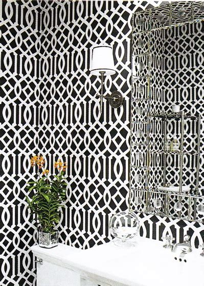 black and white lattice wallpaper imperial trellis wallpaper contemporary bathroom