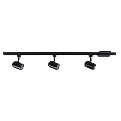 Black Track Lighting Fixtures Shop Project Source 3 Light 42 In Black Roundback Linear Track Lighting Kit At Lowes