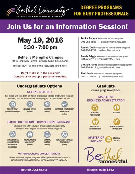 Bethel Success Mba by Information Session Bethel