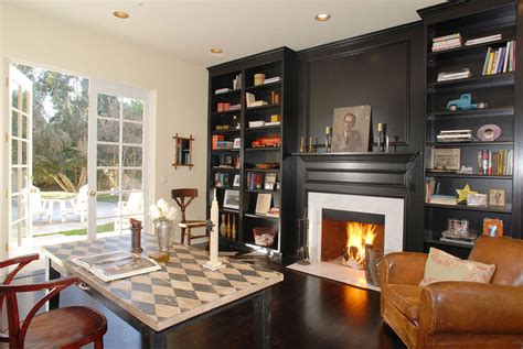 black built ins fireplaces with bookcases home office traditional with