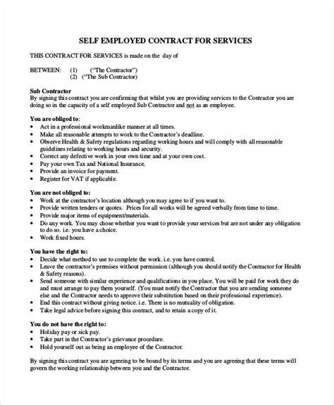 self employed agreement template sle contract agreement 30 exles in word pdf