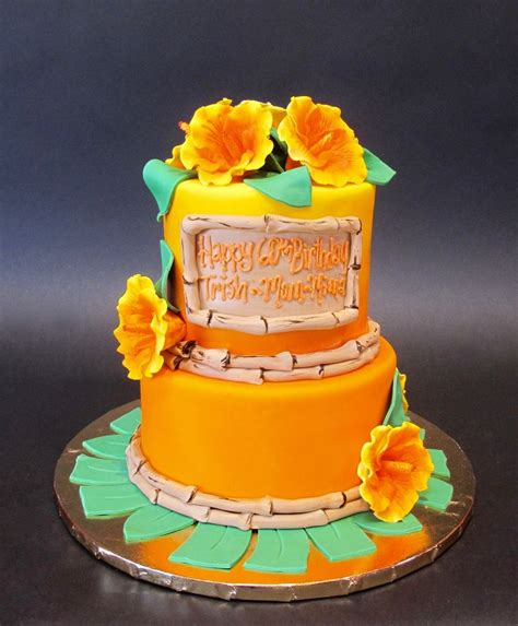 themed birthday cakes for adults hawaiian themed cake with hibiscus and bamboo birthday