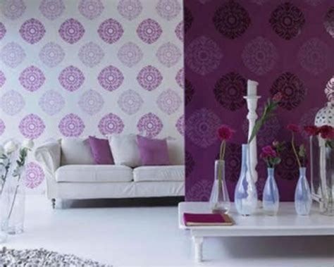 purple living room decorating ideas with floral wallpapers