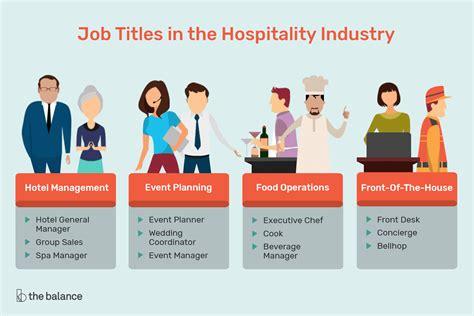 hospitality industry job titles  descriptions