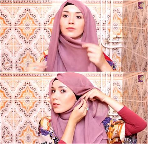 tutorial hijab paris simple  modis beserta gambar
