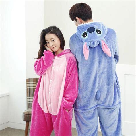 Jam Flanel Stitch Pink lilo and stitch pajamas anime costume winter flannel hoodie pajamas blue pink