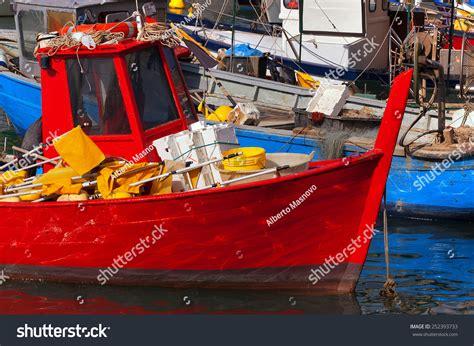 small fishing boat equipment fishing boats harbor liguria italy small stock photo