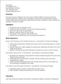Commercial Contract Manager Sle Resume by Professional Commercial Manager Templates To Showcase Your Talent Myperfectresume