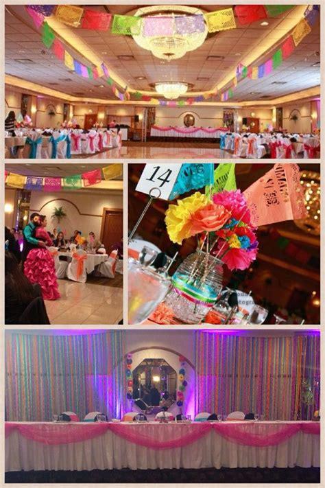 reception hall  decorated  traditional papel picado
