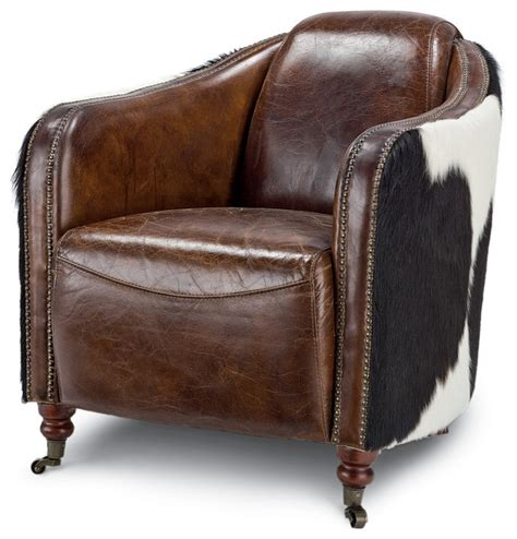 rustic accent chairs fink rustic brown leather hair hide upholstered arm chair