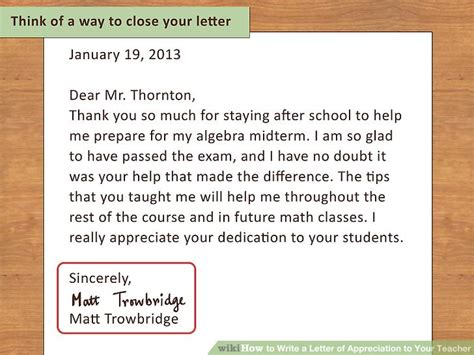 appreciation letter to math how to write a letter of appreciation to your 13