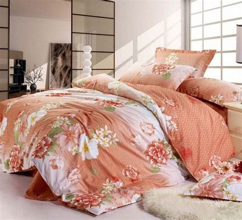 orange floral comforter great floral printing orange 4 pieces cotton comforter