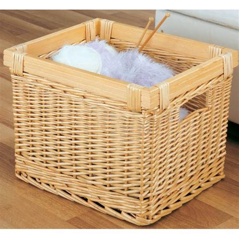 large willow wicker storage basket in shelf bins