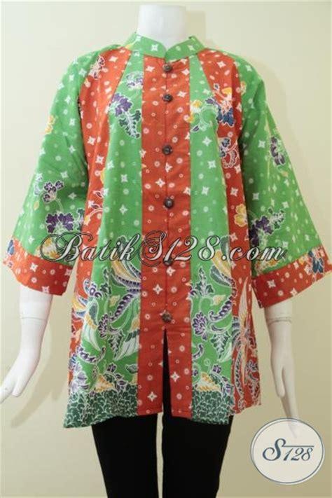 Baju Warna Hijau Kombinasi baju blus batik wanita atasan kombinasi warna oranye hijau bagus elegan bls1256p l toko