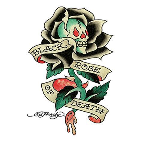 black rose of death tattoo ed hardy skull and roses temporary goimprints