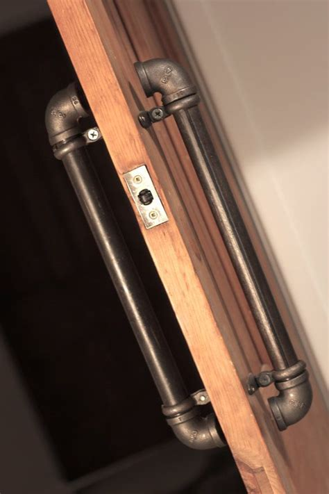 industrial looking hardware pair of industrial steel pipe door pull handles by
