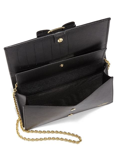 Bnib Salvatore Ferragamo Miss Vara Wallet lyst ferragamo miss vara bow chain wallet in black