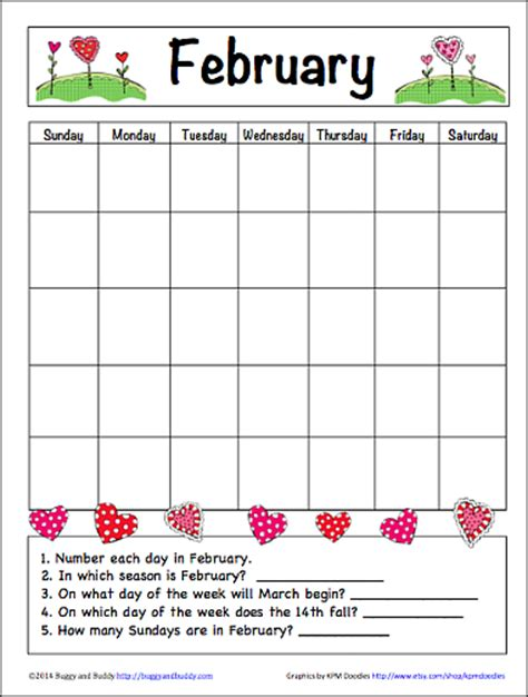calendar template for children february learning calendar for free printable