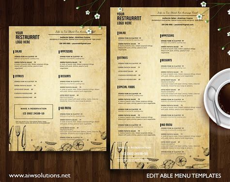 restaurant menu id22 brochure templates creative market