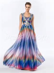 multi color prom dress multi color pattern print prom dress a line