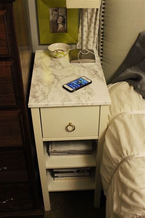 nightstand with marble top diy nightstand upgrade with marble contact paper