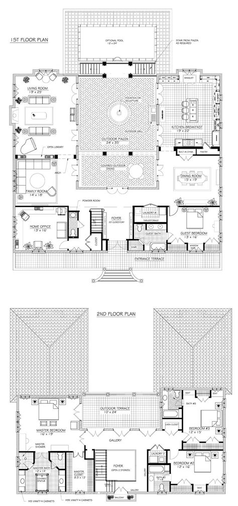 u shaped floor plans with courtyard french house plans on pinterest u shaped houses