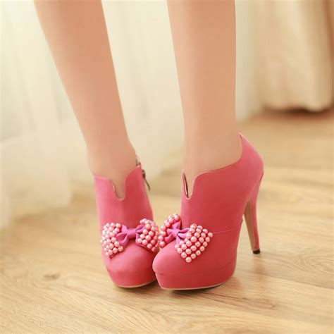 high heels with bows on the side pink side zip bow embellished high heels fashion