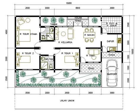 layout denah laundry denah rumah minimalis 1 lantai 3 kamar tidur 1 interior