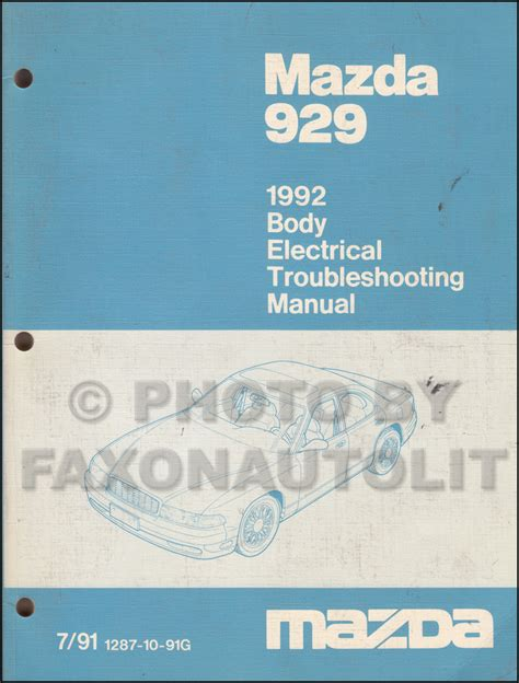 auto repair manual online 1992 mazda 929 free book repair 1992 mazda 929 body electrical troubleshooting manual original