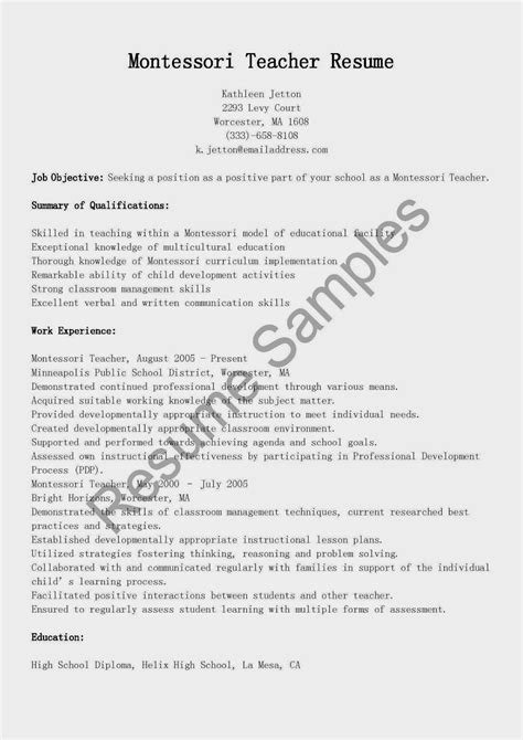 Montessori Cover Letter Resume Writers Ma