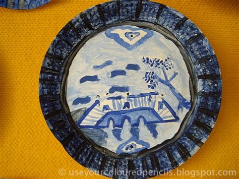 willow pattern artist use your coloured pencils willow pattern paper plates
