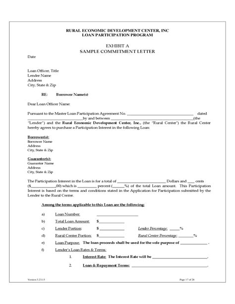 Participation Approval Letter Carolina Loan Participation Program Free