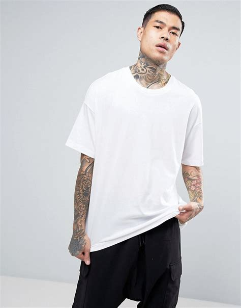 Oversized Tshirt lyst bershka oversized t shirt in white in white for