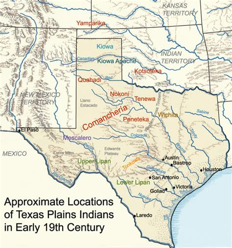 map of indian tribes in texas americans in texas s history room